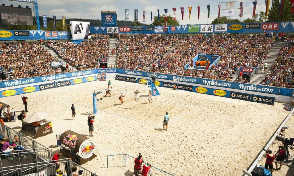 Overview of the Beachvolleyball Grand Slam 2011area in Klagenfurt, Austria on the 5th of August, 2011  // Erwin Polanc/Red Bull Content Pool // P-20120217-93443 // Usage for editorial use only // Please go to www.redbullcontentpool.com for further information. //